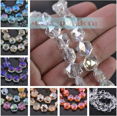 Charms 12mm Faceted Hexagonal Crystal Glass Loose Spacer Colorful Beads Findings