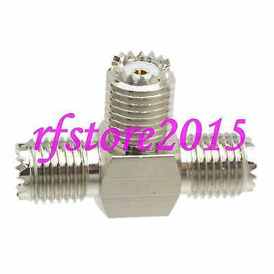 1pce Adapter Connector miniUHF female jack to 2x miniUHF female jack T for WiFi