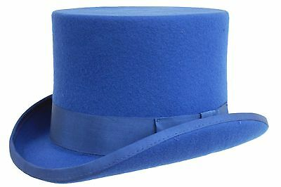 Gents Wedding Derby Event 100% Wool Hand Made Satin Lined Blue Felt Top Hat