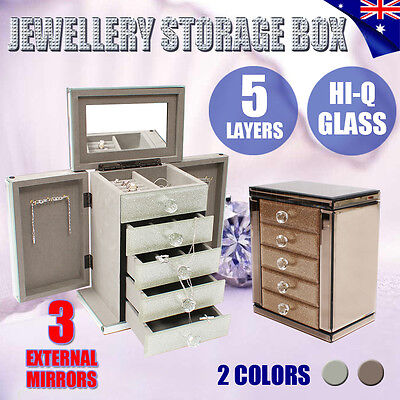 2017 Glass Jewellery Gift Storage Box Case Ring Watch 5 Layers Organizer Mirror