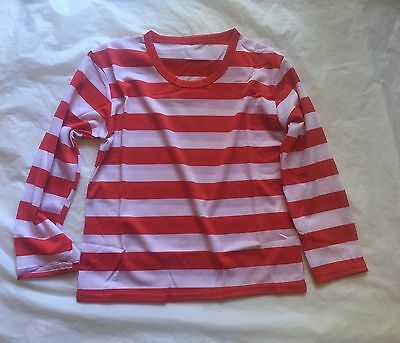 KIDS Red and White Striped Top Shirt Costume Party Dress Up Long Sleeve Stripe