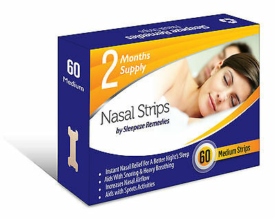 Nasal Strips 60 Medium - Snoring Aids For Breathing - Snore Cure Sleep