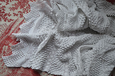 "Huge antique hand knitted pure cotton bed cover, 90"" x 80"""