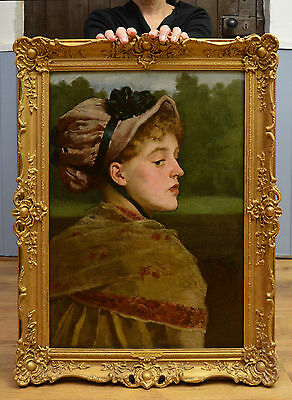 Fine 19th Century Oil Painting Portrait of Beautiful Victorian Girl in a Bonnet