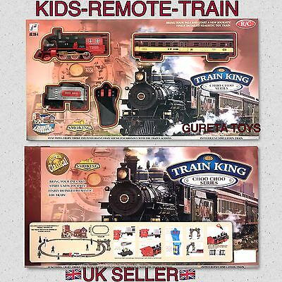 Classical Remote Control Smoke Train Track Set With Light Sound Train Action Uk