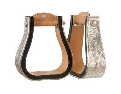 Tough-1 Stirrups Royal King Silver Bell Leather Lined 57-9810
