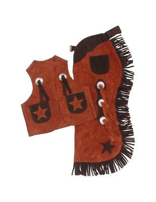 Tough-1 Western Chaps Kids Vest Set Stars Split Leather Adjust 63-360
