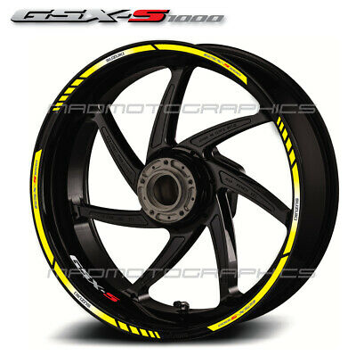 GSX-S1000 motorcycle wheel decals rim stickers Laminated suzuki gsxs 1000 yellow