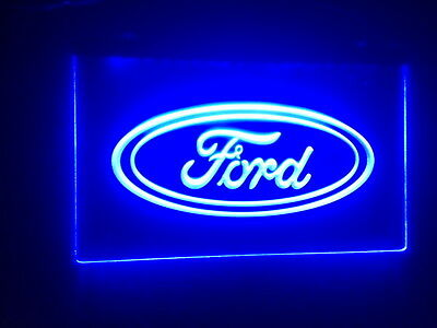 "Blue Ford 12"" x 8"" Led Neon Sign On/Off Switch mancave wall hanging"