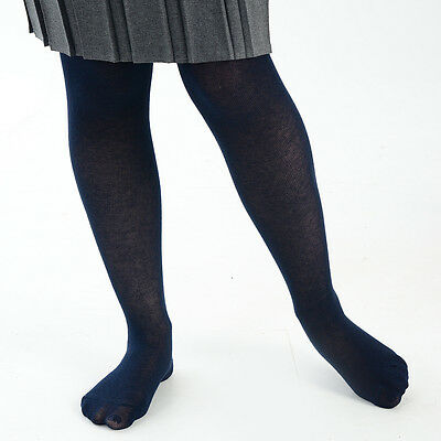 Girls and Babies Plain Cotton Footed School Uniform Tights - Newborn to 13 Years