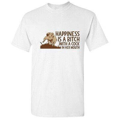 Happiness Hunting Hunter Offensive Adult Graphic Gift Funny Novelty T Shirt