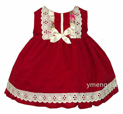 *SALE* Gorgeous Baby Girl's Red Spanish Romany Dress with Lace Trimmings