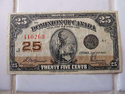 1923 Dominion Of Canada 25 cents Bank Note..!!!