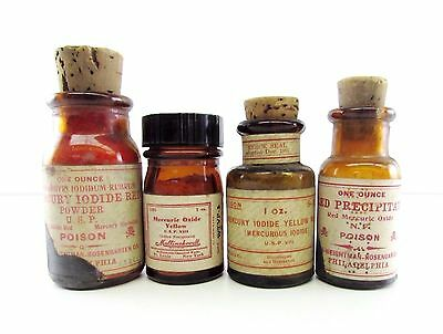 Antique Apothecary Mercury Poisons Mercuric Iodide Oxide Poison Cork & contents