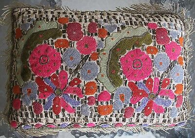 Antique Turkish Pillow Embroidered Metallic Linen Lumbar Metal Embroidery