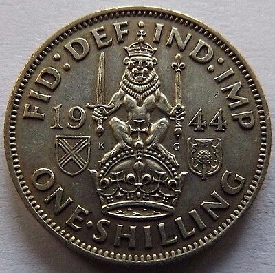 1944 Great Britain Silver One Shilling! Xf! Reeded Edge!