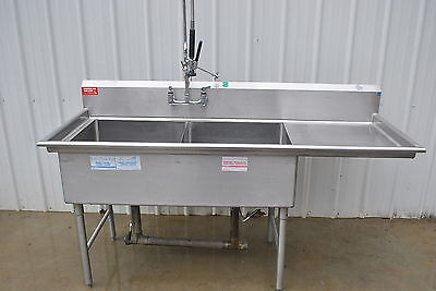2 COMPARTMENT SINK with SPRAYER STAINLESS STEEL 75""