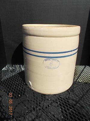 Vintage Double Stripe Marshall Pottery 4 Gallon Crock - Chimney Top