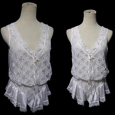 Vtg 80s Sheer White Teddy Romper M/L Blouson Bodice With Lace Overlay by Tosca