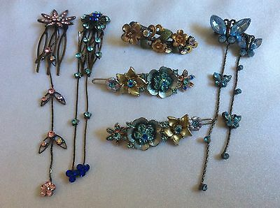 lot of 6 multi color rhinestones hair pins picks accessories butterfly 🦋 flower