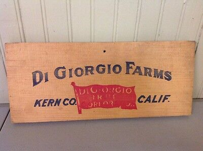 Vintage Antique Wood Grapes Wine Winery Crate Wall Hanging Di Giorgio Fruit