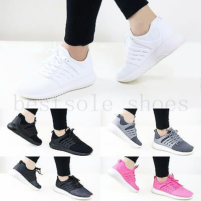 Ladies Womens Girls Flat Lace Up Plimsolls Pumps Gym Running Trainers Shoes Size