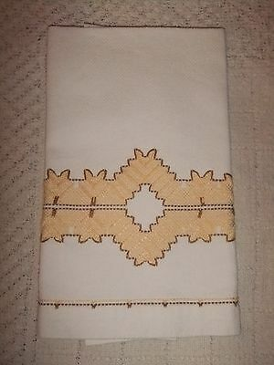 Swedish Embroidered Vintage Hand Towel White/Yellow & Brown.....#4