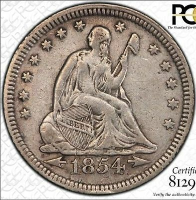 PCGS VF Details 1854 Silver Seated LIberty Quarter with Arrows GREAT EYE APPEAL