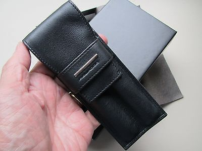 Piquadro black nappa leather two-pen case-pouch AC606MO/N
