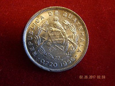 1956 Guatemala 5 Centavos- Nice small silver coin - 15.5 MM