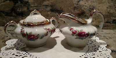 Small Vintage Unmarked Ceramic Creamer With Lidded Sugar Bowl