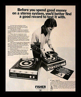 1972 Fisher Record Player Ad - Phonograph - DJ - Audio - Vintage Advertising