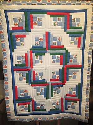 """Blue with planes, trains, boats Handmade Patchwork Log Cabin Baby Quilt 38""""x52"""""""