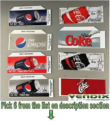 PICK 6 Flavor Tab Strips soda label Coke Pepsi vending machine Vendo Dixie Narco