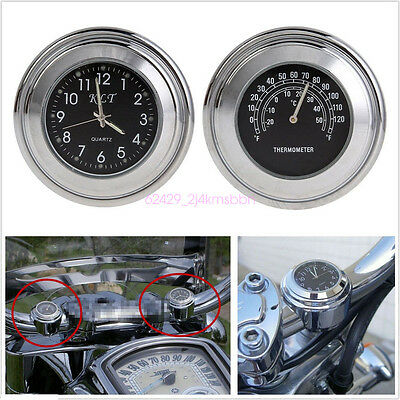 "2in1 7/8"" Motorcycles Handbar Chrome Black Dial Clock & Thermometer Temp Gauge"