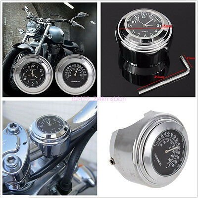 "7/8"" 1"" Motorcycle Handlebar Black Dial Clock Temp Thermometer Gauge Waterproof"