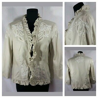 VTG 1980's Laura Petites Size 14 Cropped Jacket Lace Inlay Ruffles 3/4 Sleeves