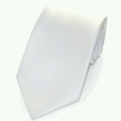Pure white satin tie for kids boy toddler or baby