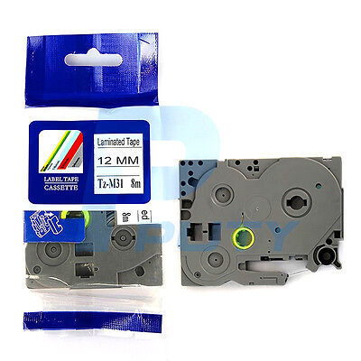 Compatible Brother P-Touch TZ-M31 TZe-M31 Black on Matte Clear Label Tape 12mm