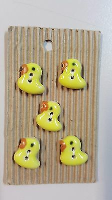 Incomparable Buttons L164 Ducks x 5 Handmade Hand Painted & Fully Washable