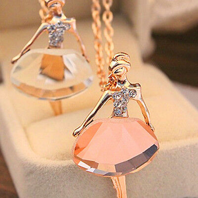 Fashion Women Alloy Ballet Gold Plated Long Chain New Pendant Crystal Necklace