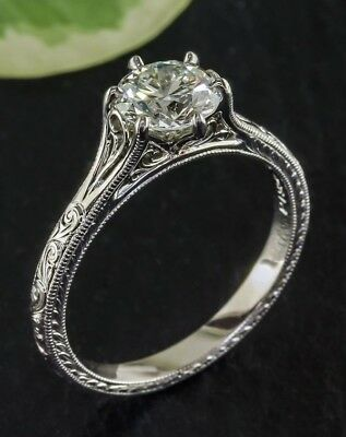 6 MM Off White Real Moissanite Diamond Solitaire Engagement Ring 925 Silver $$$