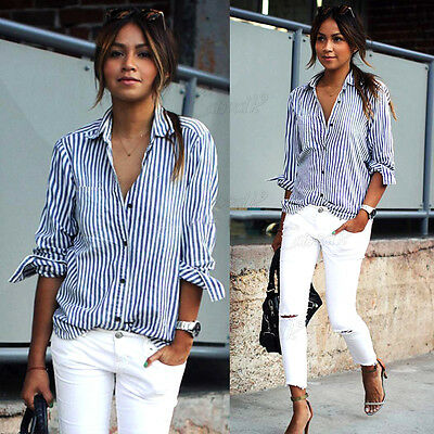 Fashion Womens Blouse Long Sleeve Ladies T Shirt Striped Casual Loose Short Tops