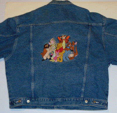 Vintage Pooh & Tigger Disney Store Denim Jacket! Embroidered Characters! 2Xl