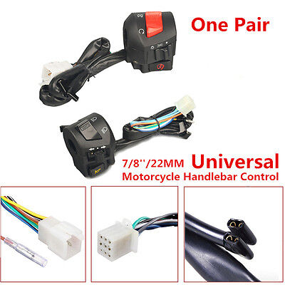 Pair Universal 7/8'' Motorcycle Handlebar Horn Turn Signal Light Control Switch