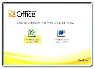 Micro Soft Office 2010 Starter Word -Excel Immediate Download