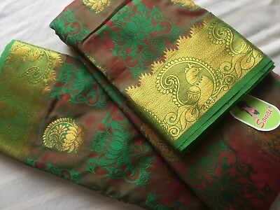 Indian Designer Banarasi Sari / Fancy Rama Silk Resham Butta Kanjivaram Saree 59