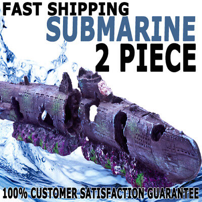 Aqua Aquarium Fish Tank Resin Ornament Submarine Ship 2 Piece Decoration Decor