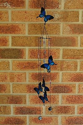 Ulysses Butterfly Wind Chime 5 Butterflies Hanging Metal Home Garden Glass Balls