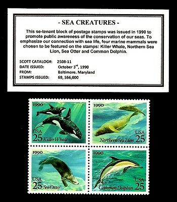 1990 - SEA CREATURES - Mint -MNH- Block of Four Postage Stamps